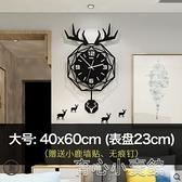 掛鐘北歐鹿頭鐘錶掛鐘客廳現代簡約掛錶創意個性網紅錶時尚家用時鐘YYJ 育心館
