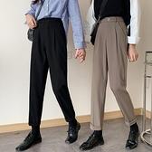 西裝褲 日系古著黑色高腰直筒休閒西裝煙管九分褲女寬鬆小個子鹽系褲子潮-年終穿搭new Year