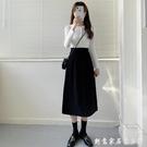 黑色半身裙女夏中長款秋冬新款顯瘦遮胯肚高...