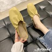 半拖鞋 平底半拖鞋穆勒鞋顯白2020春夏季新款包頭褶皺奶奶鞋半托單鞋女 愛麗絲