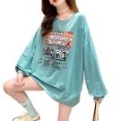 EASON SHOP(GW7708)實拍卡通撞色不規則割破洞長版落肩寬鬆長袖素色棉T恤裙連身裙繽紛字母印花大尺碼