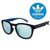 【adidas 愛迪達】潮流三葉草經典LOGO復古圓框太陽眼鏡/運動眼鏡#黑/藍框-水銀鏡面(001-009-027)