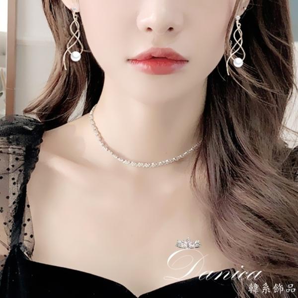 現貨 韓國女神氣質浪漫幾何波浪無限珍珠925銀針流蘇耳環 夾式耳環 S93779 批發價 Danica 韓系飾品