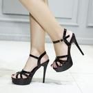 促銷全場九折 夏季新品12cm超高跟性感交叉綁帶鏤空露趾涼鞋女防水臺細跟女鞋子