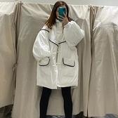 羽絨外套-白鴨絨-連帽寬鬆時尚潮流女夾克2色73zb25[時尚巴黎]