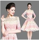 現貨M一字領蕾絲洋裝連身裙禮服21233