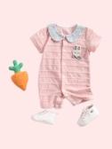 嬰兒衣服夏裝女寶寶連體衣公主6個月3新生兒初生夏季薄款短袖爬服