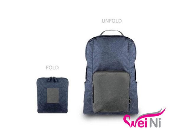 wei-ni 棉麻後背包 旅行購物袋 可當行李桿掛袋 輕巧收納大容量萬用包 旅行包 單肩包 雙肩包