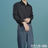 免燙禁欲系氣質垂感寬鬆男士港風長袖黑白色襯衫休閒ins潮流復古 蘿莉小腳丫