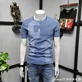 短袖t恤男2021新款韓版百搭修身純棉透氣黑色中青年圓領體恤衫 快速出貨