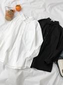 純色不規則長袖襯衫春季2019新款女裝韓版百搭中長款寬鬆外套上衣 嬌糖小屋