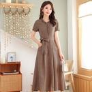 洋裝/連衣裙女夏2021年新款流行收腰時尚洋氣顯瘦氣質短袖過膝復古裙子 快速出貨