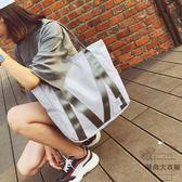 側背包托特包女手提布袋包韓版簡約大容量單肩大包【時尚大衣櫥】
