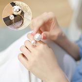 戒指 韓國珍珠開口裝飾戒指女個性日韓時尚潮人玫瑰金食指指環小飾品 店慶降價