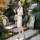 短袖洋裝 2021年新款新式雪紡改良版旗袍少女款小清新波點連衣裙年輕款夏天 快速出貨