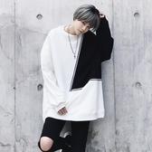 長袖T恤-圓領冬季新款時尚拼色男上衣73pr54【巴黎精品】
