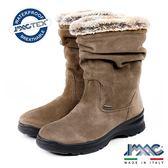 【IMAC】義大利進口磨砂皮革毛飾氣墊女靴/中筒靴  淺咖啡(208029-MBR)