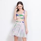 網紗短袖上衣+短裙(兩件套)-時尚優雅油畫印花蓬蓬裙女裙裝73lk15【巴黎精品】