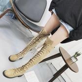 膝上靴女2018新款秋季長筒馬丁靴英倫風韓版百搭膝上靴高跟顯瘦靴子