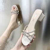 涼鞋 網紅凉鞋女仙女風超火ins潮粗跟2020新款水鑽百搭高跟晚晚羅馬鞋 鉅惠85折