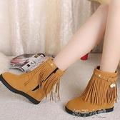 韓版秋冬英倫風中筒靴女流蘇平跟側拉錬馬丁靴內增高短靴