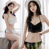 蕾絲荷葉邊 性感 綁帶 造型款 比基尼 少女時代 日韓系 溫泉 兩節式泳衣 黑/白