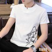 短袖男士t恤夏季新款棉麻體恤男生潮流修身半截袖白色上衣服xy1205【原創風館】