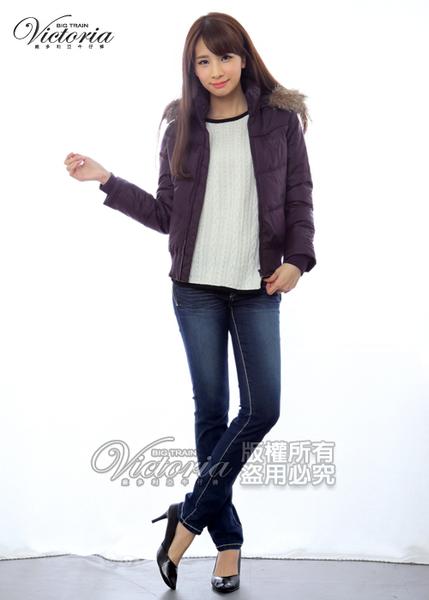 Victoria  短版印紋絲棉外套-桃紫-V4513466