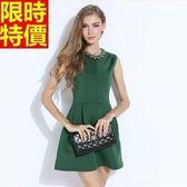 洋裝-無袖綠色典雅修身顯瘦A字流行連身裙67m37【巴黎精品】