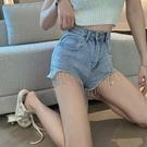 超短褲 牛仔超短褲女裝春夏新款高腰寬管寬鬆顯瘦重工流蘇熱褲子潮-Ballet朵朵