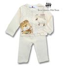 RQ POLO 幼童夏季黃色飛行小熊圖案薄棉長袖前開襟居家休閒服 睡衣套裝 [41721]