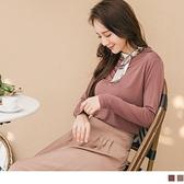 《AB13693》莫代爾純色小立領拼接造型印花領巾長袖上衣 OrangeBear