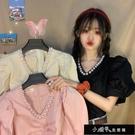 夏裝2020新款韓版設計感珍珠領短袖襯衫女法式小眾V領泡泡袖【全館免運】