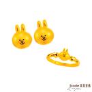 J'code真愛密碼 LINE甜心兔兔黃金戒指+甜心兔兔黃金耳環