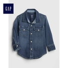 Gap男嬰幼童 休閒長袖按扣牛仔襯衫 496465-中度靛藍
