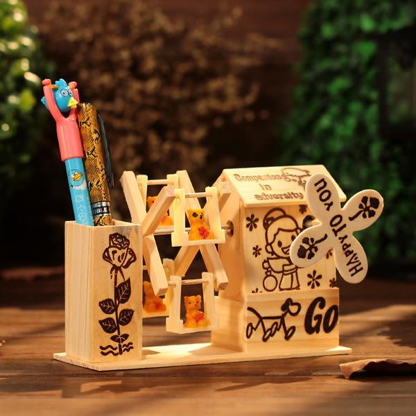 CH100─木質風車筆筒音樂盒八音盒桌面裝飾擺件畢業禮物送同學老師(白色)