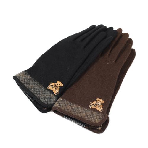 DAKS 經典格紋泰迪熊手套( 黑色)