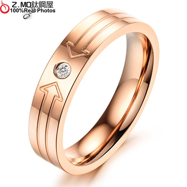 [Z-MO鈦鋼屋]女性玫瑰金戒指/可搭配刻字/「雙向箭頭」韓系配件單件價【BKS414】
