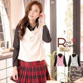 長袖襯衫--時尚休閒風襯衫+棉質背心假兩件長袖襯衫(粉.米S-2L)-I77眼圈熊中大尺碼
