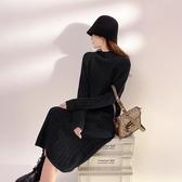 針織連身裙女韓版款中長款半高領加厚毛衣裙坑條內搭打底裙女9987NC323-B紅粉佳人