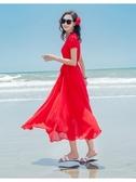 度假洋裝  雪紡連身裙海邊度假長裙馬爾代夫短袖沙灘裙超仙