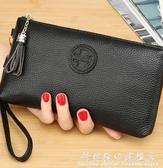 手包女新款簡約時尚氣質牛皮軟皮手拿手拎手機零錢包小包 聖誕節免運