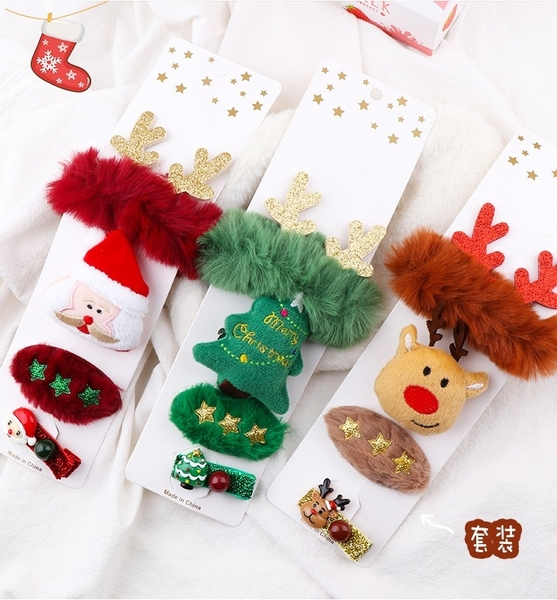 現貨聖誕髮圈+髮夾+胸針4入組(綜),聖誕節/髪飾/別針/交換禮物/派對,節慶王【X112301】