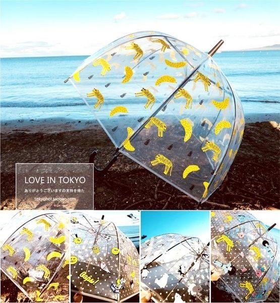 兒童雨傘 重磅超美 文藝范 卡通圖案 透明傘長傘傘大弧度雨傘