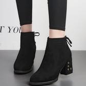 短靴 高跟粗跟尖頭韓版女鞋短靴絨面女靴子歐美馬丁靴裸靴 『夢娜麗莎』