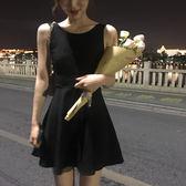 港味復古chic夏季中長款小黑裙高腰無袖背心洋裝新款露背禮服裙   芊惠衣屋