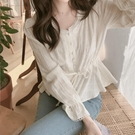 蕾絲打底襯很仙的上衣韓國秋裝收腰顯瘦蕾絲花邊長袖襯衫女v領小個子打底衫 新品