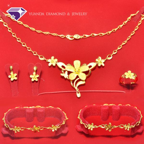【元大鑽石銀樓】『小確幸』結婚黃金套組*戒指、手鍊、項鍊、耳環*純金9999國家標準