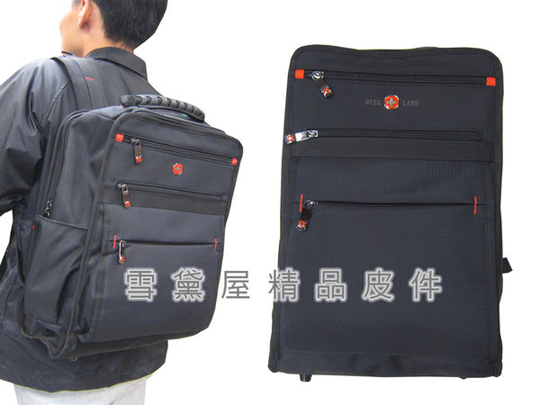 ~雪黛屋~OVER-LAND 後背包大容量二層主袋可放A4資料夾14吋電腦防水尼龍布隨身物品T3063