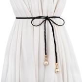 腰帶女新品韓版時尚女士編織細腰帶 百搭流蘇裝飾腰繩 甜美打結裙帶腰鏈-『美人季』